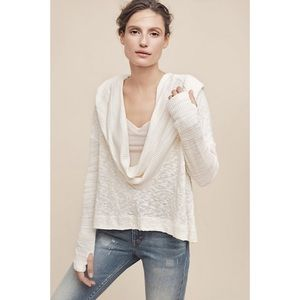 Anthropologie Ivory Almeria Hooded Cowl Sweater